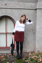 maroon corduroys Gap skirt - black spiked lita Jeffrey Campbell boots