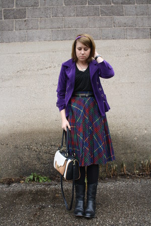 deep purple vintage blazer - black Ariat boots - blue vintage skirt