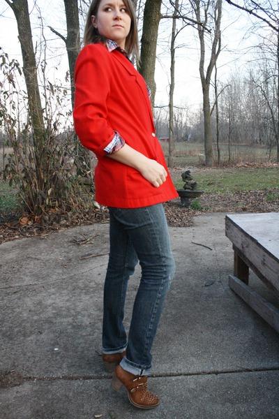 red red long blazer thrifted vintage blazer - bronze pubin Steve Madden boots