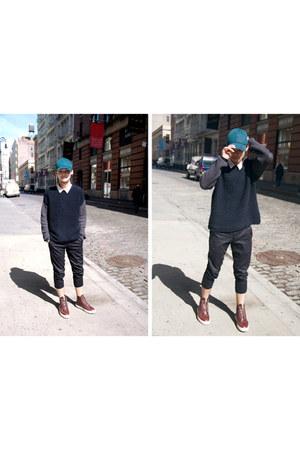 cap H&M hat - crewneck Zara sweater - cropped Uniqlo pants