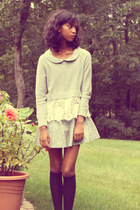 silver American Eagle sweater - light blue Forever 21 dress - black Target socks