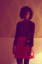 black H&M tights - ruby red modcloth dress - black moms cardigan