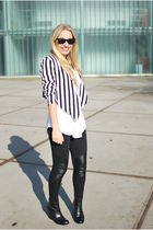 white striped H&M jacket - black minimarket boots - black panel H&M leggings