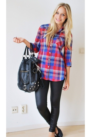 red plaid  tartan Topshop blouse - black ballet flats H&M shoes