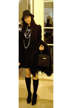 black Zara dress - black Forever 21 hat - black Miu Miu pumps - ivory pearl Chan