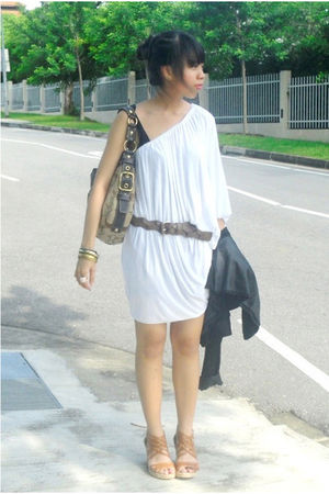 white mphosis dress - brown Mango belt - coach bag - brown shoes - Forever 21 ac