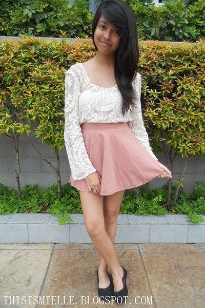 Ayala skirt - black SM shoes - pasterl pink Primark bag