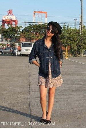 floral Forever 21 dress - sm accessories hat - denim Gap jacket