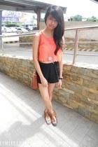 Primadonna top - SM bag - Forever 21 shorts - brown leather Nine West sandals