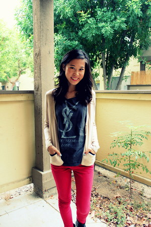 neutral me&city cardigan - red Forever 21 pants