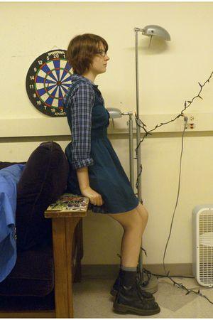 blue thrifted altered shirt - green Forever 21 dress - black Dr Martens boots