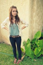 cream cardigan - teal strapless DIY shirt - dark khaki bag - dark brown sandals