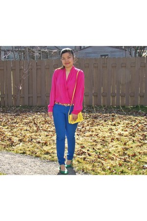 thrifted vintage blouse - Bright  Blue jeans - neon bag - Green flats