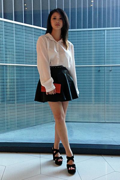 pleather skirt - blouse - tony bianco heels