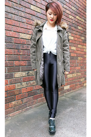 olive green parka asos coat - black American Apparel pants