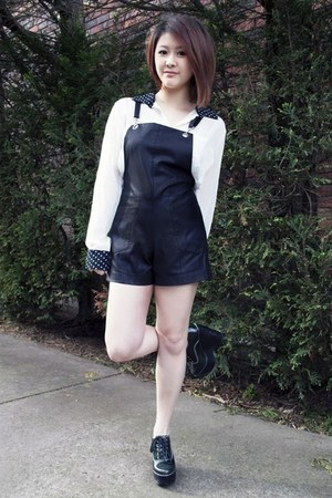 pleather bardot romper - Jeffrey Campbell wedges - white sheer Nasty Gal blouse