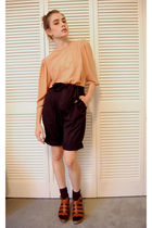 brown vintage blouse - brown madewell shoes