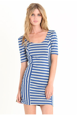 blue striped dress