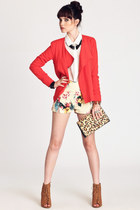 light yellow Motel shorts - camel boots - red alec moto BB Dakota jacket