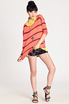 salmon sweater - black One Rad Girl shorts - light yellow top