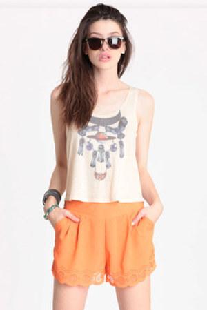 orange cutout shorts