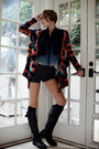 Lace-up-boots-shimmery-shorts-over-the-knee-socks-beaded-bracelet