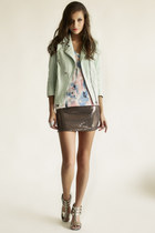 light blue Line & Dot jacket - Somedays Lovin dress - bronze skirt