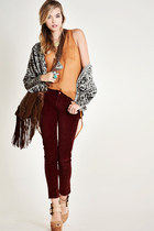 crimson pants - brown purse - heather gray cardigan - orange blouse - tan wedges
