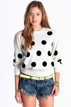 white polka dot MinkPink sweater