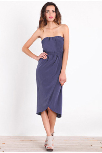 navy strapless dress