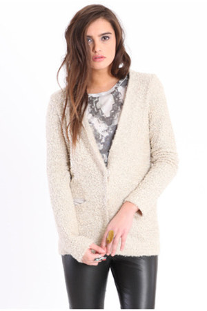 eggshell tweed-like cardigan