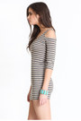Heather Gray Striped Dresses