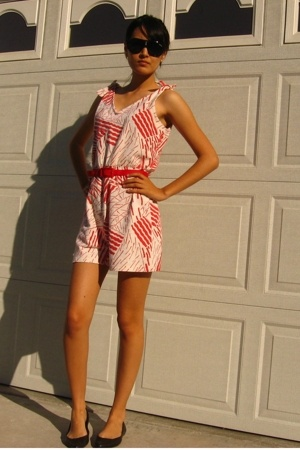 black flats Target shoes - red thin belt - red romper vintage