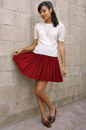 red vintage skirt - beige vintage blouse - brown vintage shoes