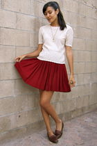 red vintage skirt - beige vintage blouse - brown vintage shoes