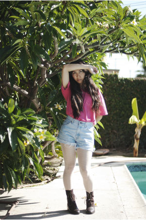 pink oversized top - blue Thrifted Levi DIY Cut-Off shorts - white H&M stockings