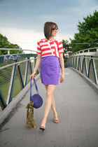 light purple mini Thrift Store dress - purple cross body H&M purse - red cropped