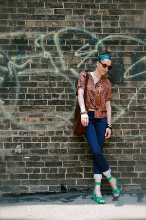 animal print Thrift Store shirt - striped H&M pants - turquoise blue H&M sandals