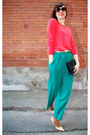 Teal-pleated-thrift-store-pants-carrot-orange-angora-french-connection-sweater