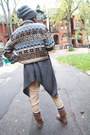 Tribal-print-thrift-store-jacket-peach-cropped-h-m-sweater