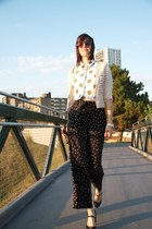 black palazzo H&amp;M pants - neutral jeweled H&amp;M cape