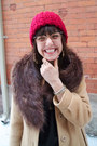 Tan-wool-thrift-store-coat-ruby-red-wooly-thrift-store-hat