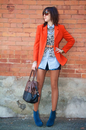 carrot orange cashmere Thrift Store blazer - beige animal print H&M sweater