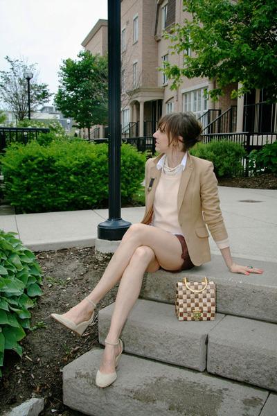 beige wool Thrift Store blazer - peach knit H&M sweater - brown cargo H&M shorts