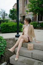 beige wool Thrift Store blazer - peach knit H&M sweater - brown cargo H&M shorts