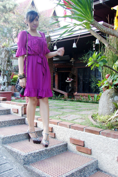 black platforms Charles & Keith shoes - pink chiffon thrift dress