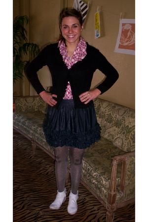 black Target cardigan - Forever 21 shirt - blue Forever 21 skirt - gray tights -