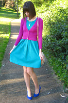 blue kenji heels - turquoise blue Glassons dress - bubble gum Alannah Hill bag