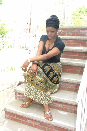 head wrap scarf - top - skirt - necklace - throwover cape