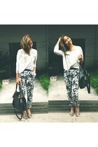 jumper - flower printed Forever21 pants - snake printed Charles & Keith loafers